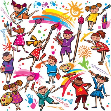 """Картина, постер, плакат, фотообои """"Счастливые дети, Рисование с кисти и цветные"""", артикул 22499353"""