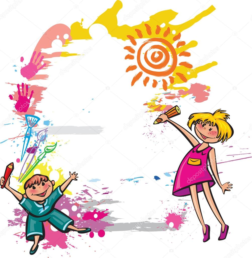 colorful banner with children drawing u2014 stock vector wikki33