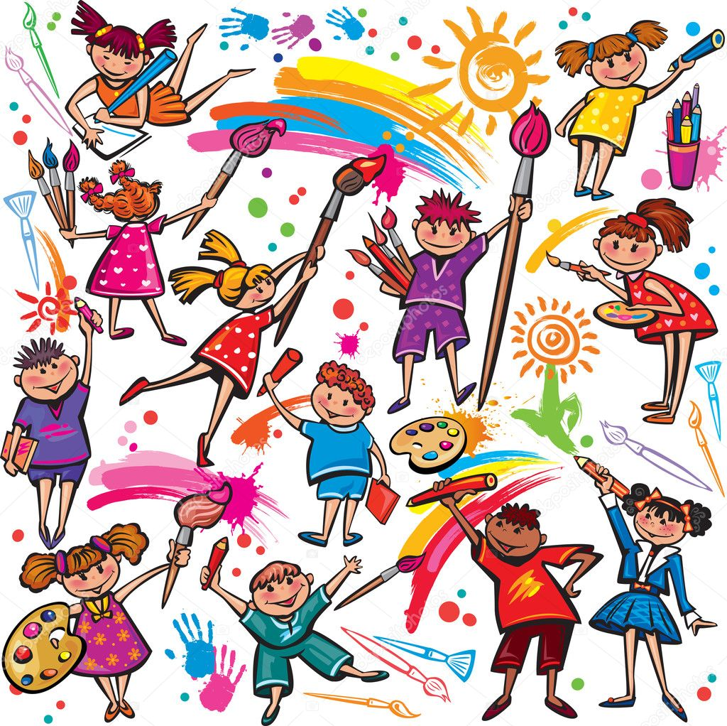 happy children drawing with brush and colorful crayons u2014 stock