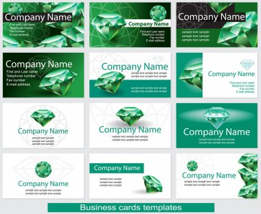 Set of business card template with emerald