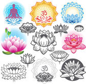 Fotografie Set of lotuses and esoteric symbols