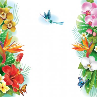 Border from tropical flowers and leaves clip art vector