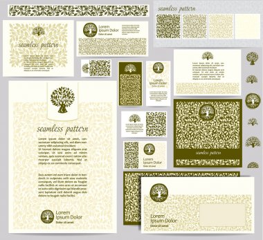 Identity template with leaf seamless pattern