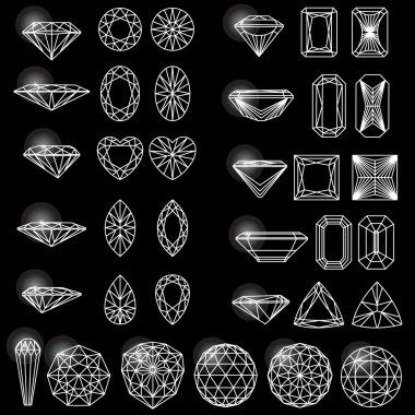 Set of variously shaped diamonds