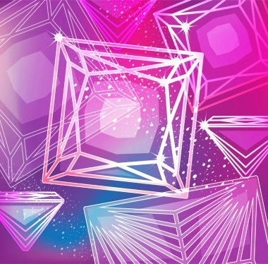 Abstract magenta background with linear diamonds cutting