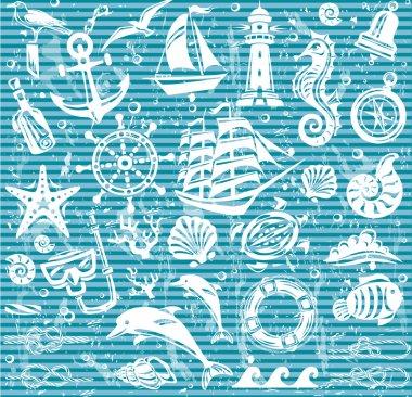 Nautical and sea icons set