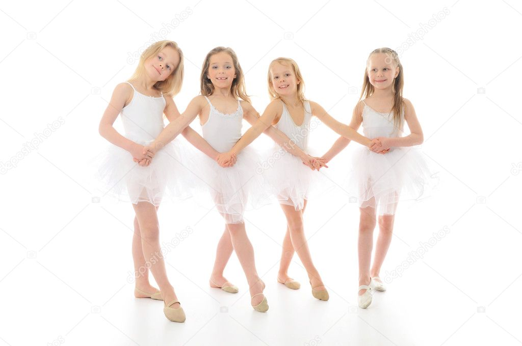 Three funny ballet dancers