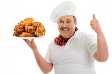 Funny happy baker