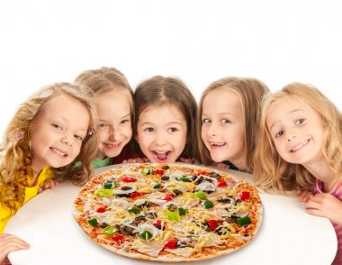 Happy kids with big pizza