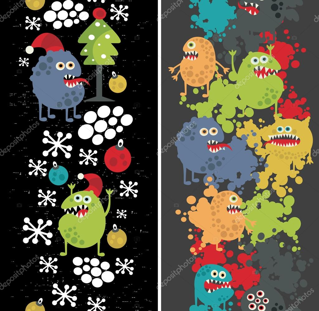 Two vertical seamless patterns with monsters, paint and snow.