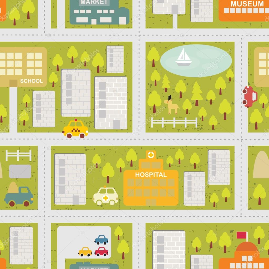 Cartoon map seamless pattern of summer city.