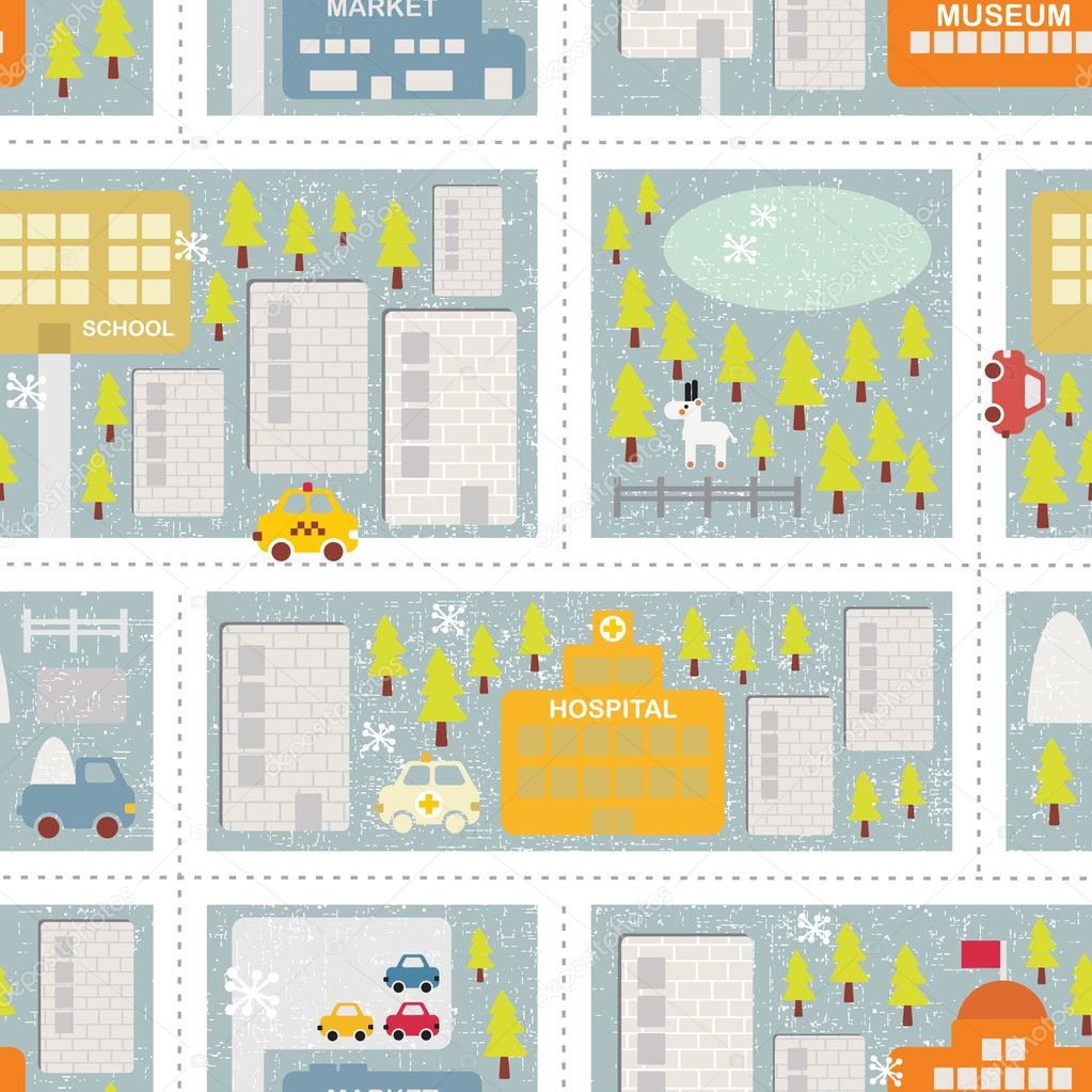 Cartoon map seamless pattern of winter city.