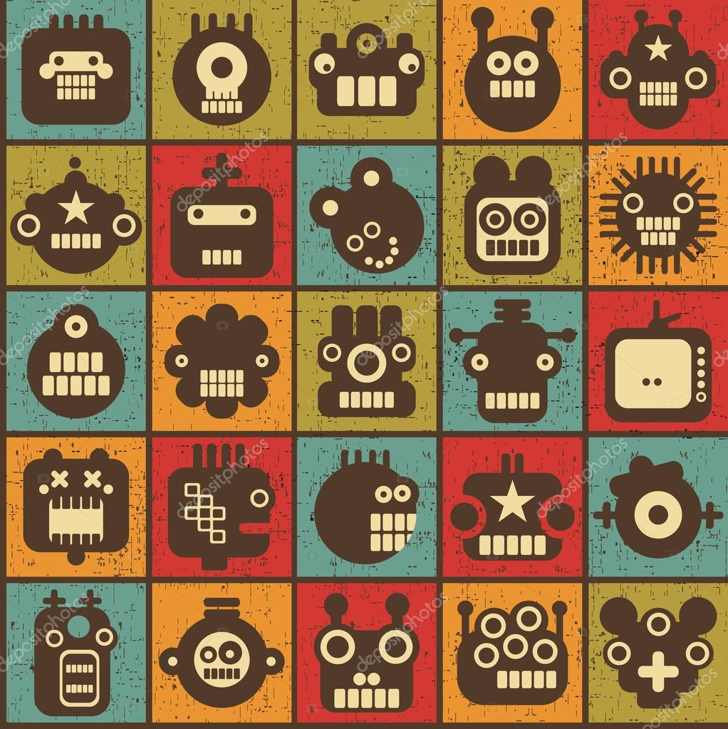 Robot and monsters cell seamless background in retro style #1.