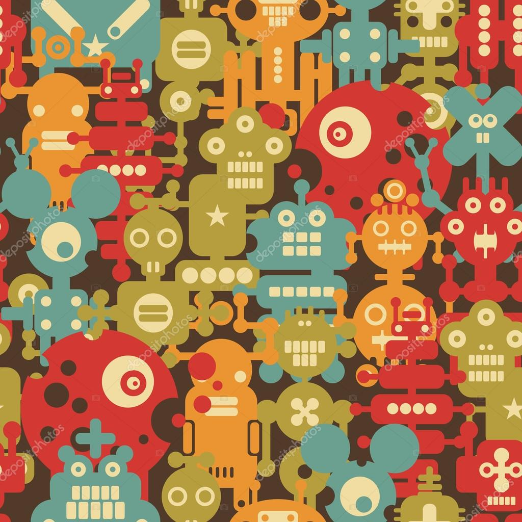 Robot and monsters modern seamless pattern in retro style.