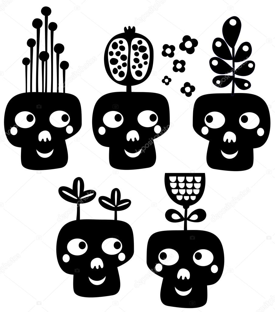 Funny skulls with flowers.
