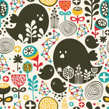 Cool seamless pattern with birds, flowers and geometric elements.