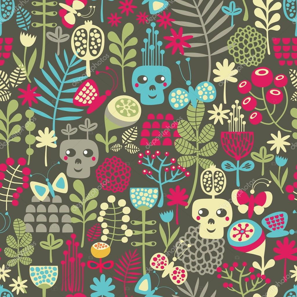 Cute skulls seamless pattern.