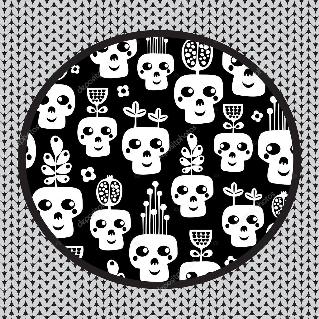 Funny skull pattern with flowers.