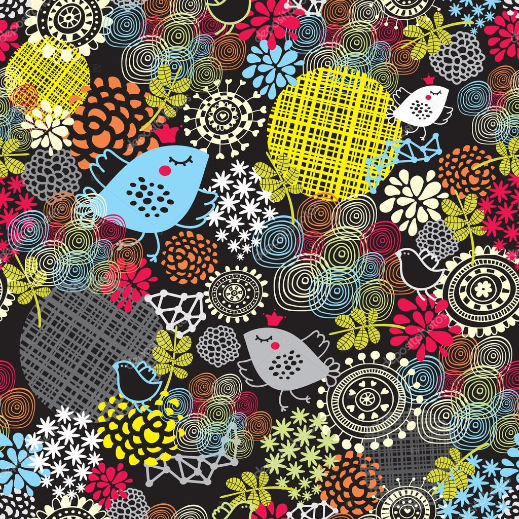 Seamless pattern with cute birds and flowers.