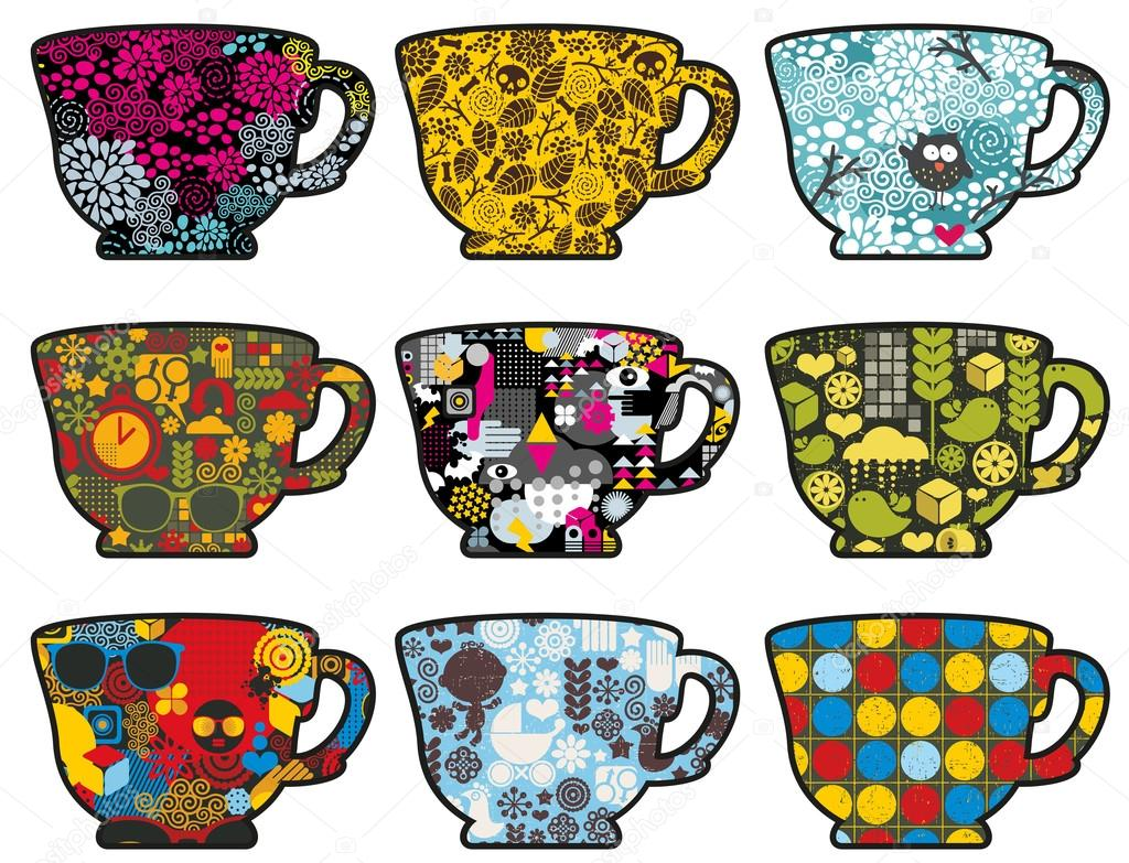 Set of cute tea cups with patterns.