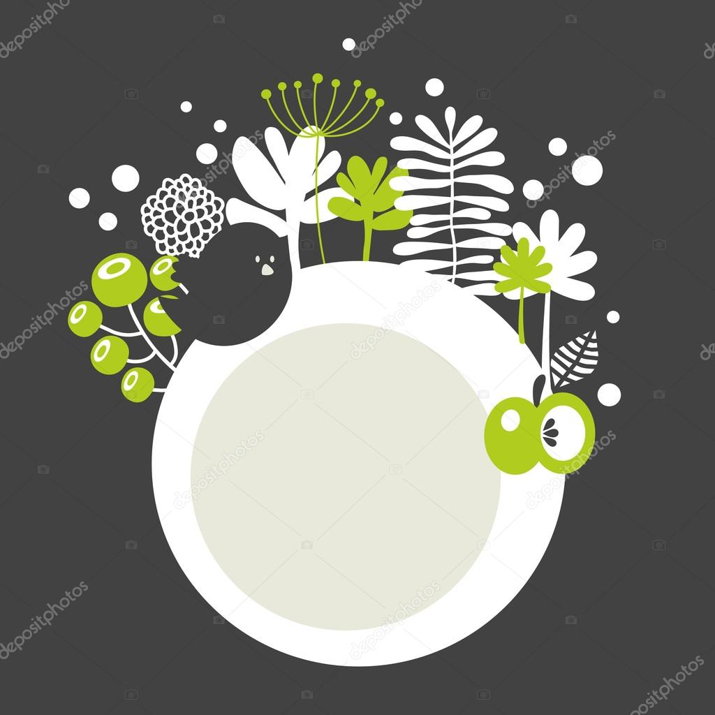 Round banner with spring nature.