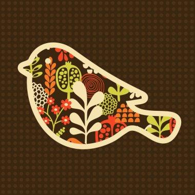 Bird with flowers.