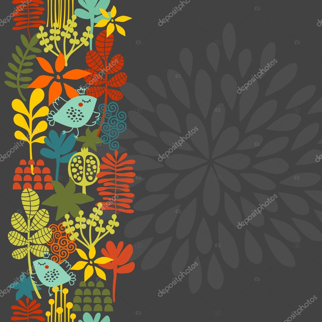 Seamless vertical pattern with bird in crown.