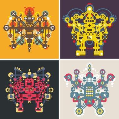 Set of colorful robots.