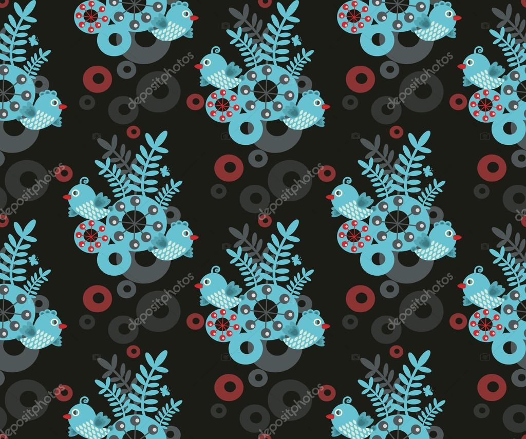 Colorful seamless pattern with blue bird.