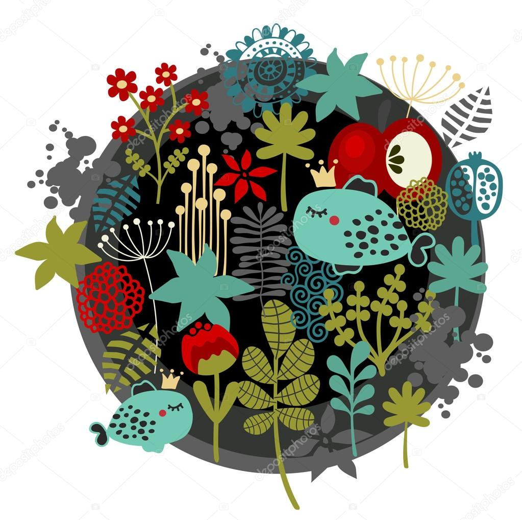 Round label pattern with  flora and fish.