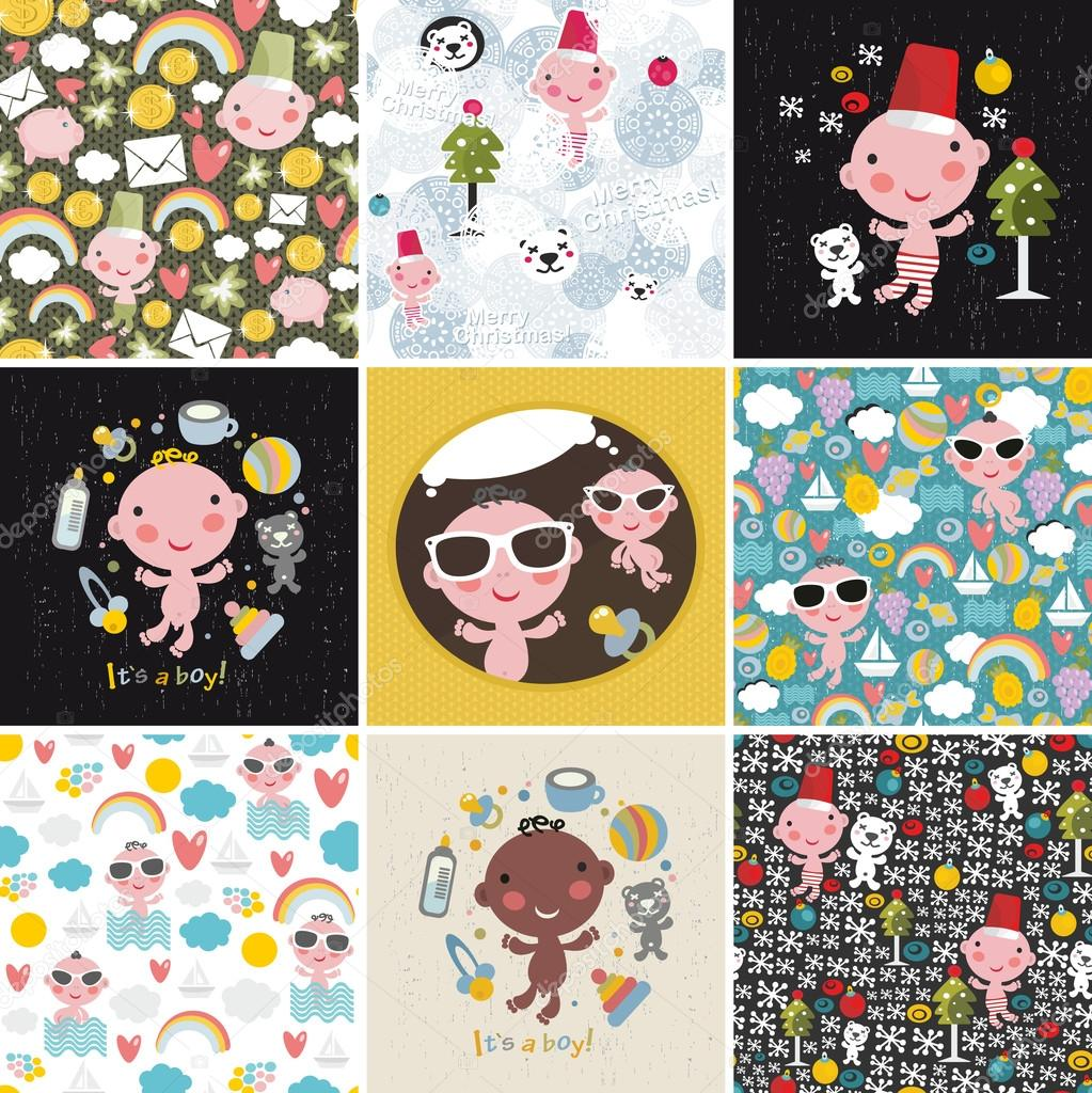Big set of vector patterns with cute little baby.