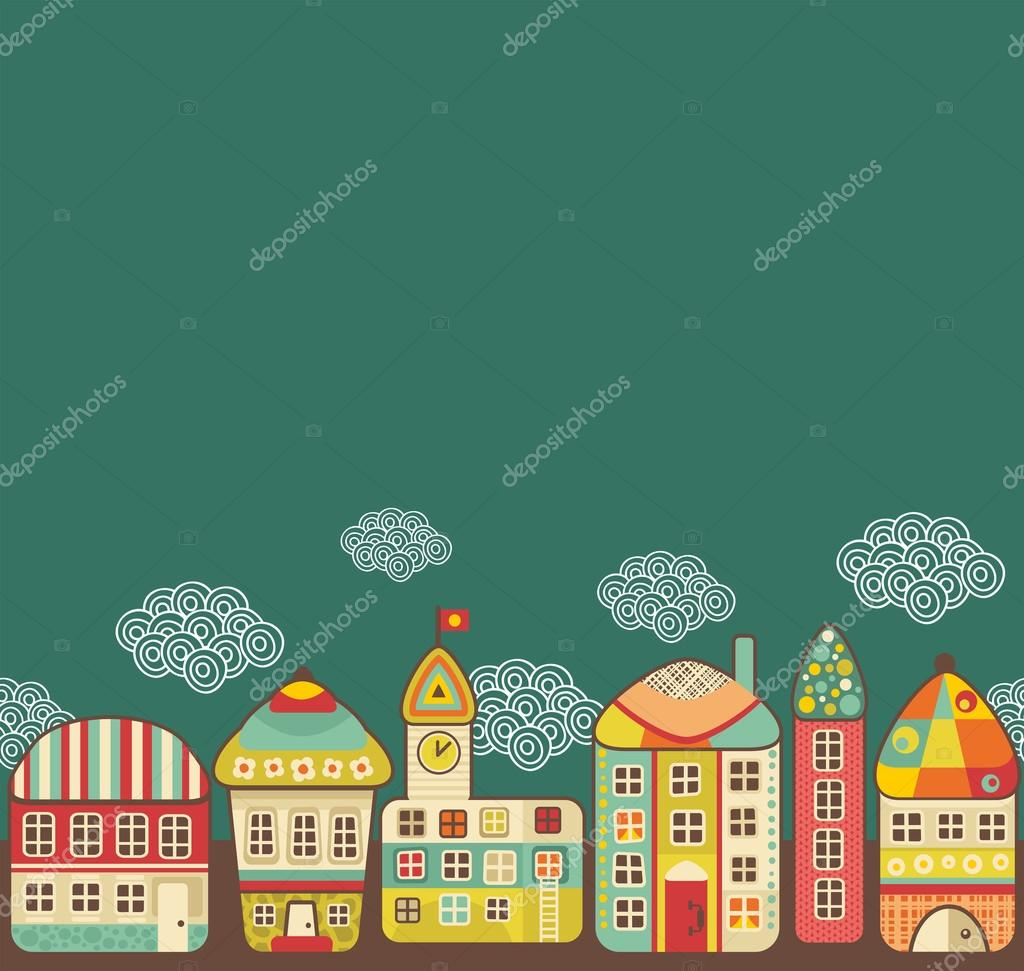 Cute houses seamless pattern.