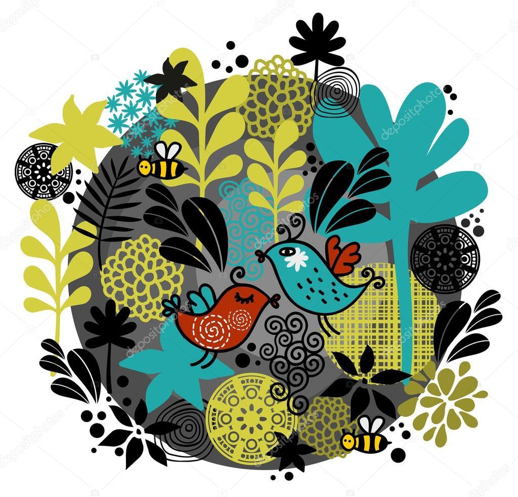 Round pattern with birds in love.
