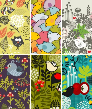 Set of vertical cards with birds and flora.