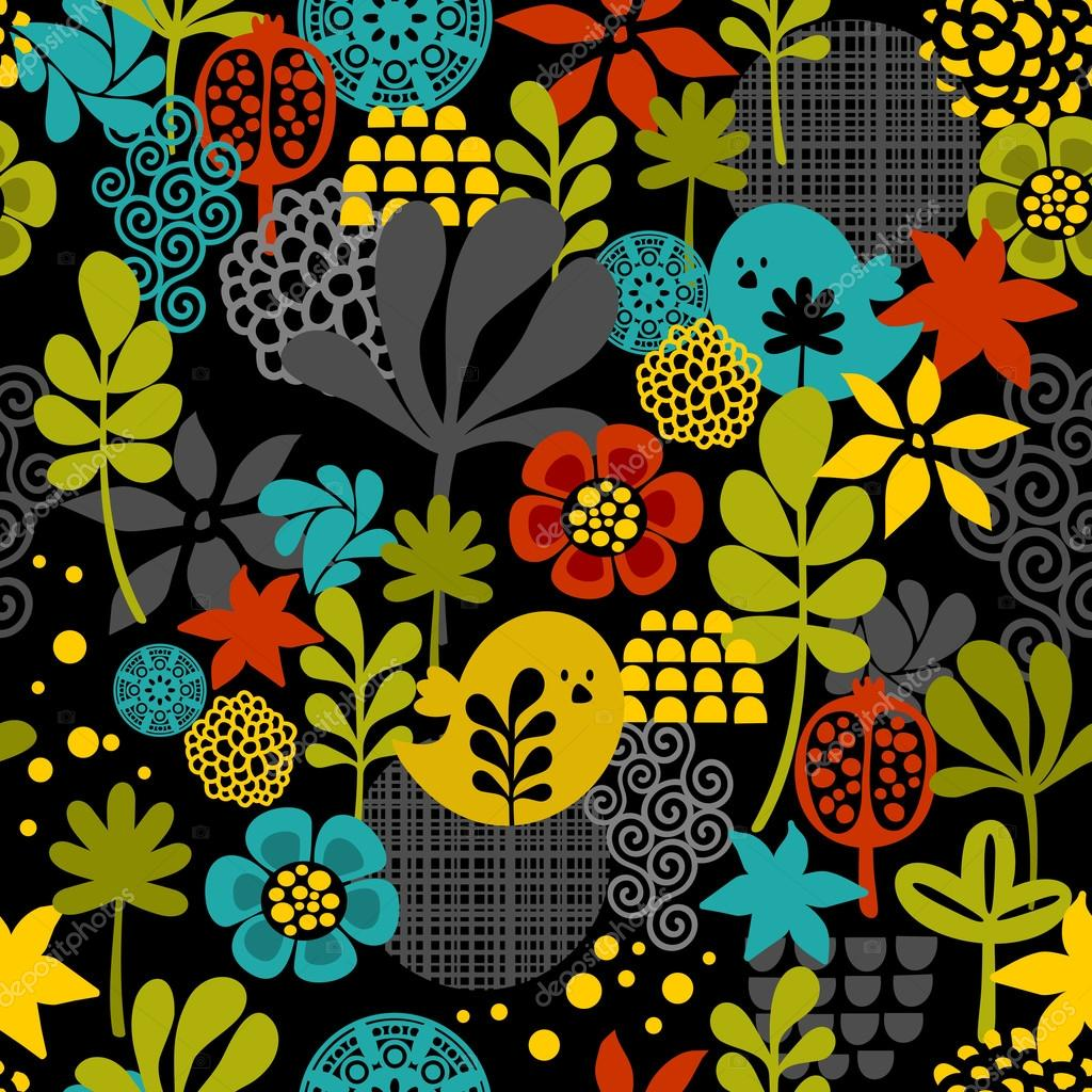 Seamless pattern with colorful birds.