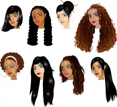 Raster version Illustration of Black Women Faces
