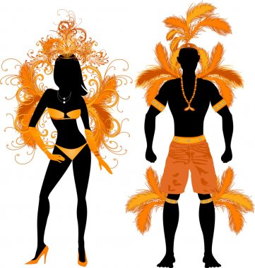 Couple for Carnival Costume Silhouettes