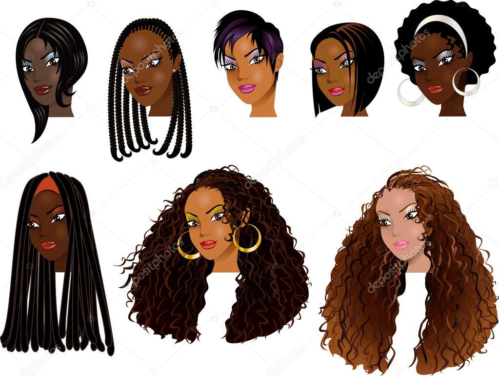 Raster version Illustration of Black Women Faces
