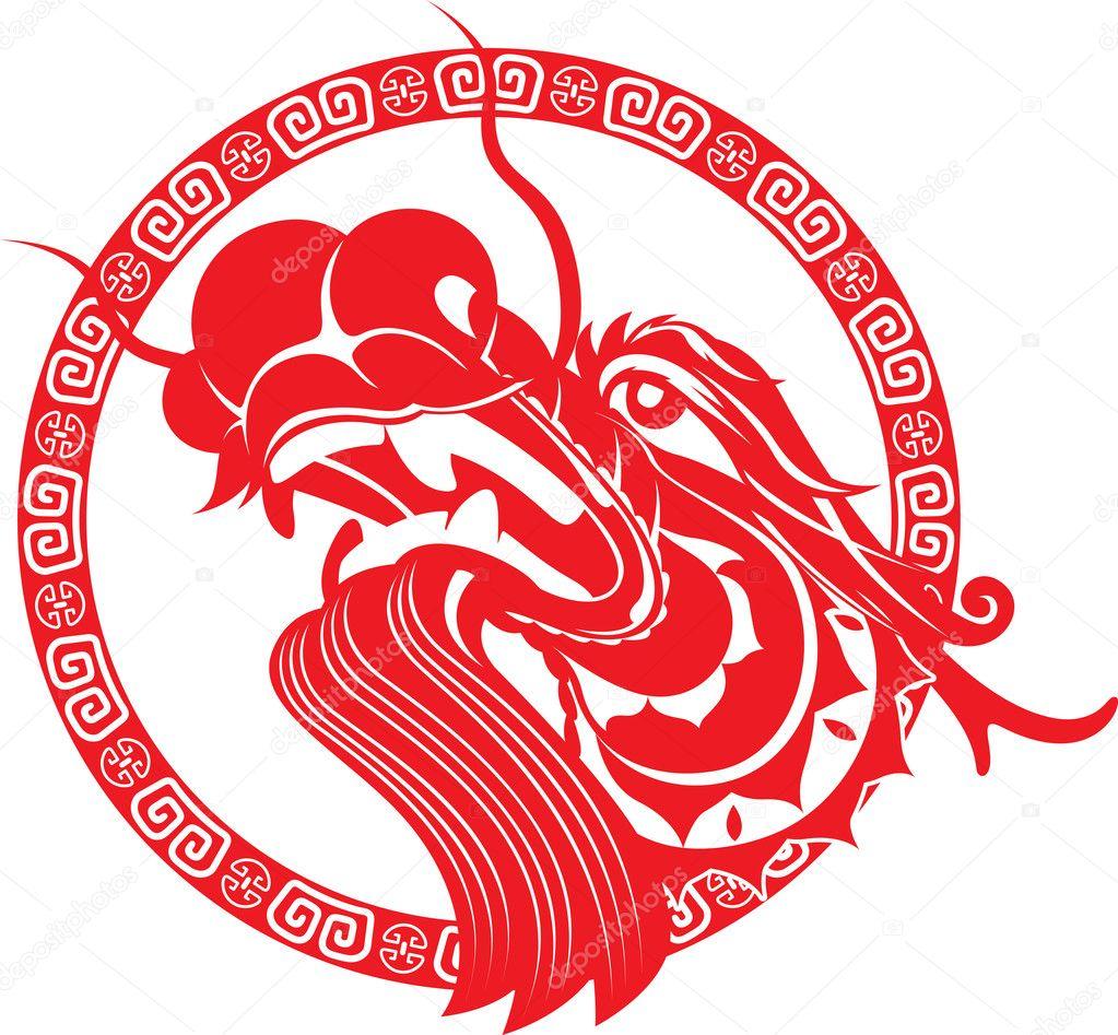 5256e12f9 Red Chinese dragon head illustration — Stock Vector © patrickma ...