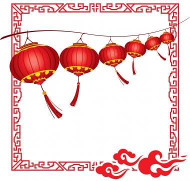 String of bright hanging Red Chinese lanterns decorations