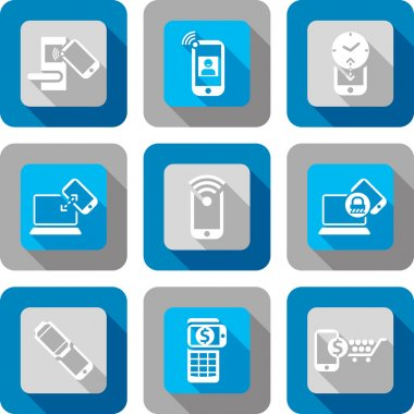 Smart phone NFC Communication Icon design set