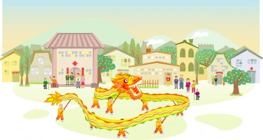 Dragon dancing parade when Chinese new year day