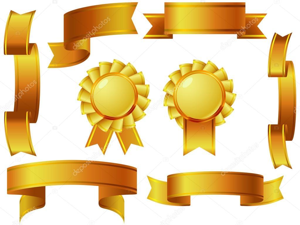 gold ribbon awards set stock vector patrickma 37262985