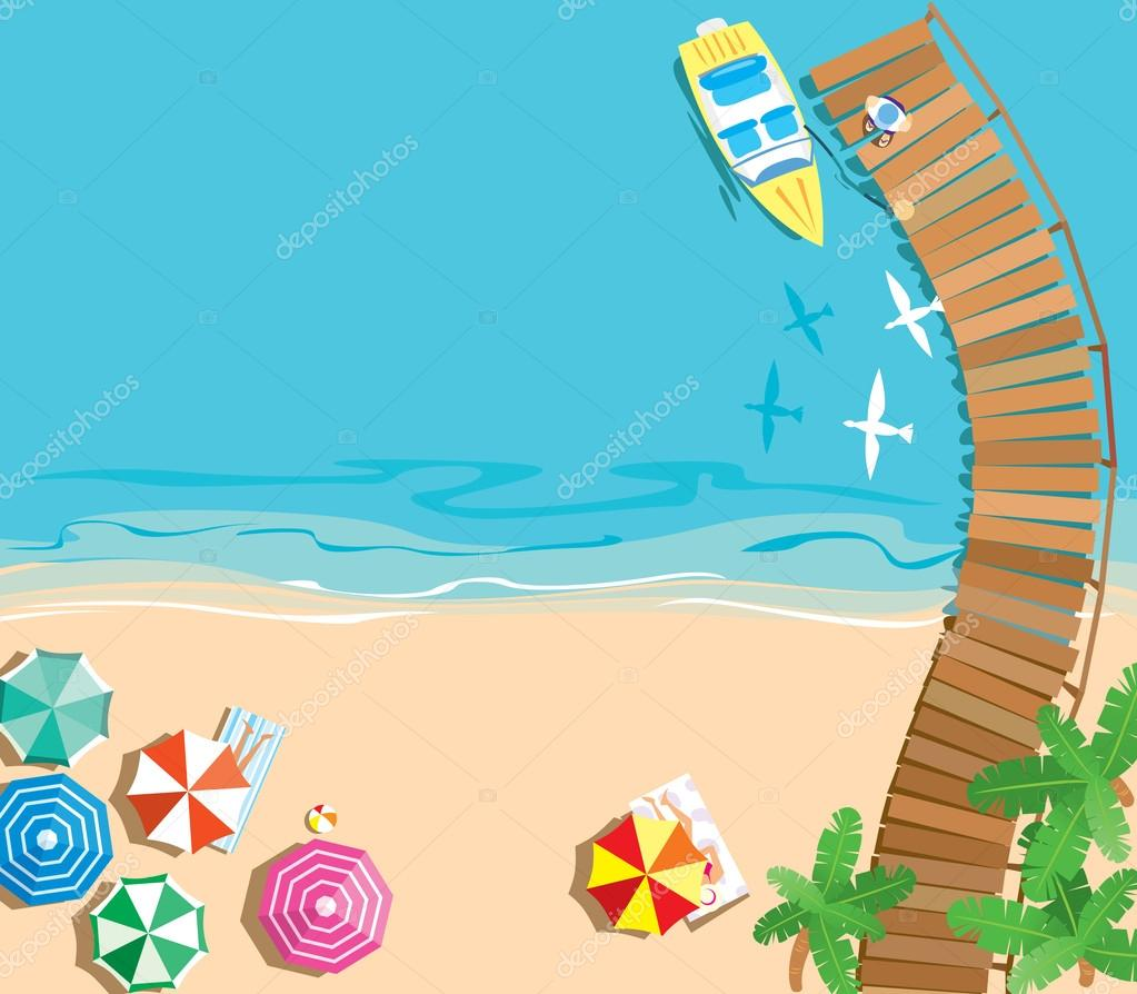 Summer beach background from aerial View