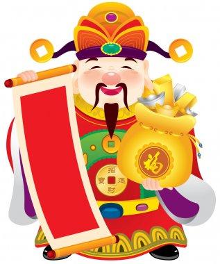 Chinese god of prosperity design illustration