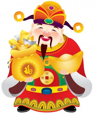 Chinese god of prosperity design illustration, holding the money and gold ingots clip art vector