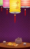 Fotografie papieren lantaarns en chinese thee illustratie