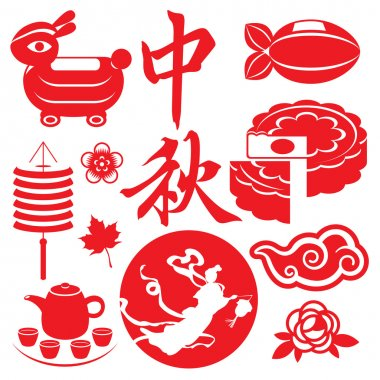 Mid Autumn festival concept icons set