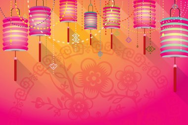 Abstract Chinese paper lanterns background