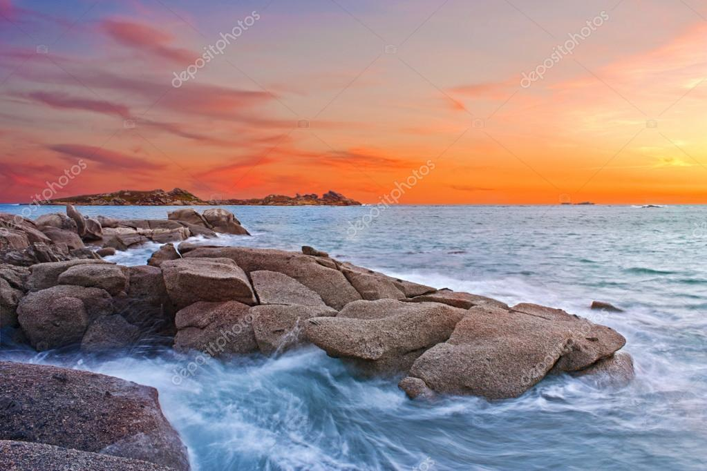 Colorful sunset at seaside during summer